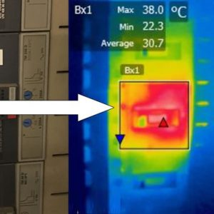 Overloaded breaker seen by a thermal camera